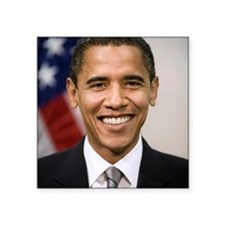 "smiling_portrait_of_Barack_ Square Sticker 3"" x 3"""