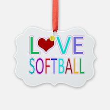 LOVE Softball Ornament
