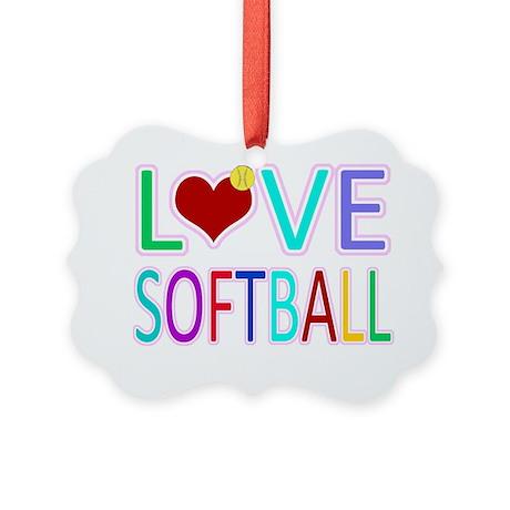 LOVE Softball Picture Ornament