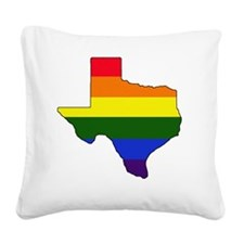 Texas Rainbow Colors With Out Square Canvas Pillow