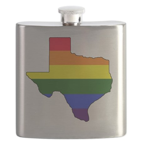 Texas Rainbow Colors With Outline Flask