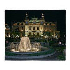 Monte Carlo Casino at Night Throw Blanket
