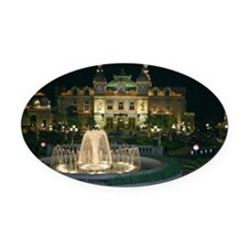 Monte Carlo Casino at Night Oval Car Magnet