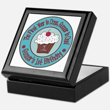 Gunnars-1st-Birthday_Teal-and-Brown-C Keepsake Box