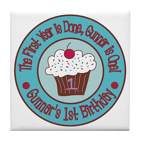 Gunnars-1st-Birthday_Teal-and-Brown-C Tile Coaster