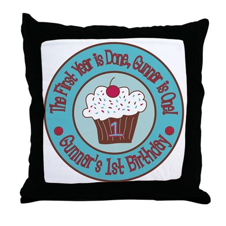 Gunnars-1st-Birthday_Teal-and-Brown-C Throw Pillow