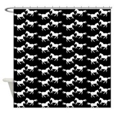 Black | White Wild Horses Shower Curtain