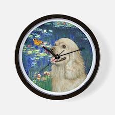 J-ORN-Lilies5-Cocker-Buff2 Wall Clock