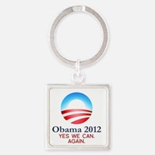 obama-yes-we-can-again-white Square Keychain