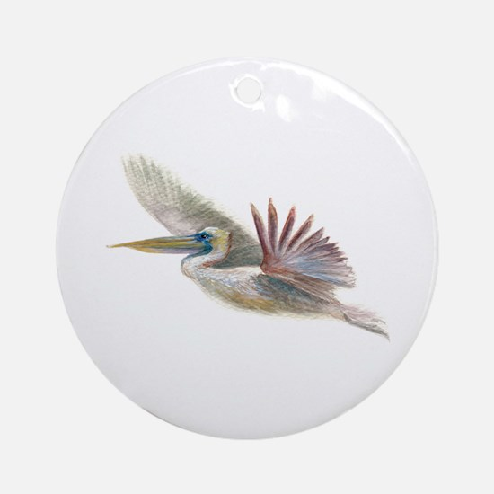 pelican in flight Ornament (Round)
