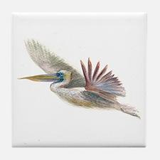 pelican in flight Tile Coaster