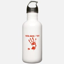 Red Hand Print Water Bottle