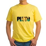 Pluto planet Mens Yellow T-shirts