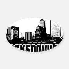 Jacksonville Skyline Oval Car Magnet