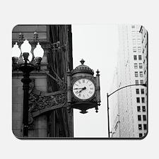 bw marshall fields clock Mousepad