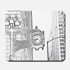 bw sketch filter marshall fields clock Mousepad