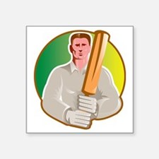 "cricket player batsman with Square Sticker 3"" x 3"""