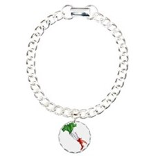 Italian Flag Map Charm Bracelet, One Charm
