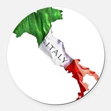 Italian Flag Map Round Car Magnet