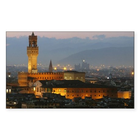 Florence at Night Sticker (Rectangle)