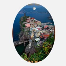 Vernazza from Above Oval Ornament