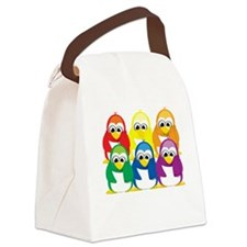 Love-Is-Love-Penguins-Stacked-blk Canvas Lunch Bag