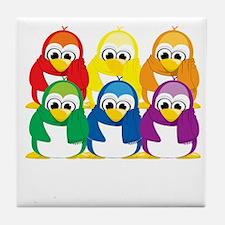 Love-Is-Love-Penguins-Stacked-blk Tile Coaster