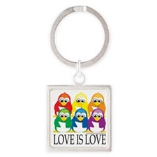 Love-Is-Love-Penguins-Stacked Square Keychain