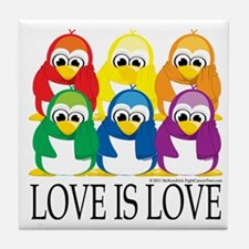 Love-Is-Love-Penguins-Stacked Tile Coaster