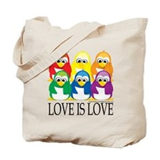 Love-Is-Love-Penguins-Stacked Tote Bag
