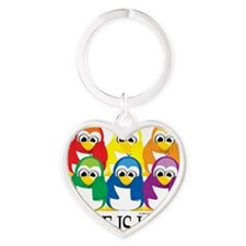 Love-Is-Love-Penguins-Stacked Heart Keychain