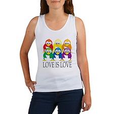 Love-Is-Love-Penguins-Stacked Women's Tank Top