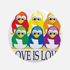 Love-Is-Love-Penguins-Stacked Round Ornament