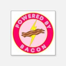"powered by bacon lightning  Square Sticker 3"" x 3"""