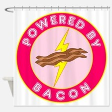 powered by bacon lightning 10 Shower Curtain