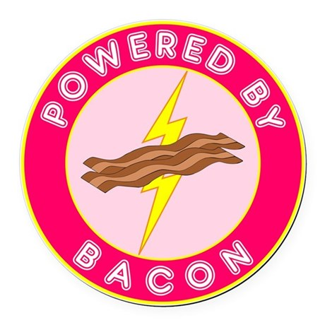 powered by bacon lightning 10 Round Car Magnet