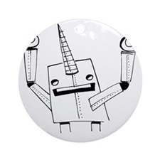 Robot Narwhal Round Ornament