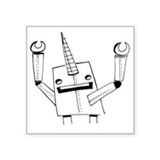 """Robot Narwhal Square Sticker 3"""" x 3"""""""