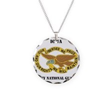 IOWA ANG with text Necklace Circle Charm