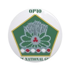 OHIO ANG with text Round Ornament