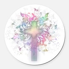 Rainbow Floral Cross Round Car Magnet