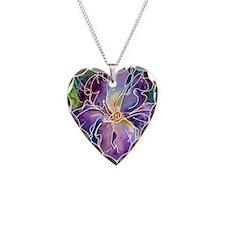 Iris! Beautiful, purple flowe Necklace Heart Charm