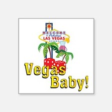 "vegas baby final Square Sticker 3"" x 3"""