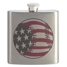 Flag Baseball Flask