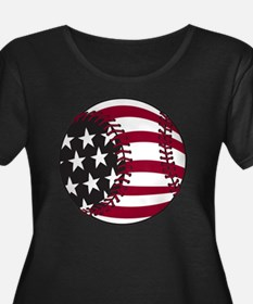 Flag Bas Women's Plus Size Dark Scoop Neck T-Shirt