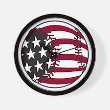 Flag Baseball Wall Clock