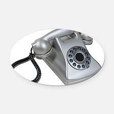 SilverRetroDeskPhone052711 Oval Car Magnet