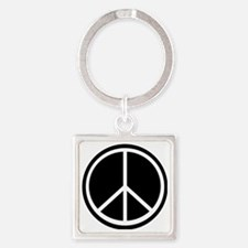 Peace Symbol Black and White Square Keychain