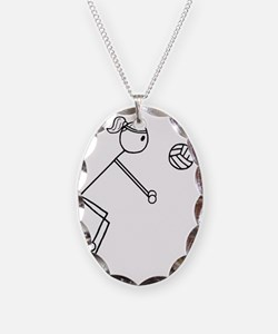 Volleyball girl clear.gif Necklace Oval Charm