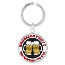 Bachelor Party Shot Glass Round Keychain